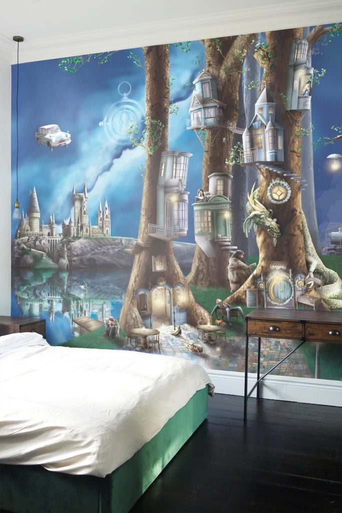 Boys Nursery Themes Ideas. Magical Harry Potter wallpaper wall mural. Perfect for kids or teens bedroom. Wallpaper features hogwarts castle, forbidden forest, dragon, hogwarts express train, harry, ron, hermione, hagrid and dragons.