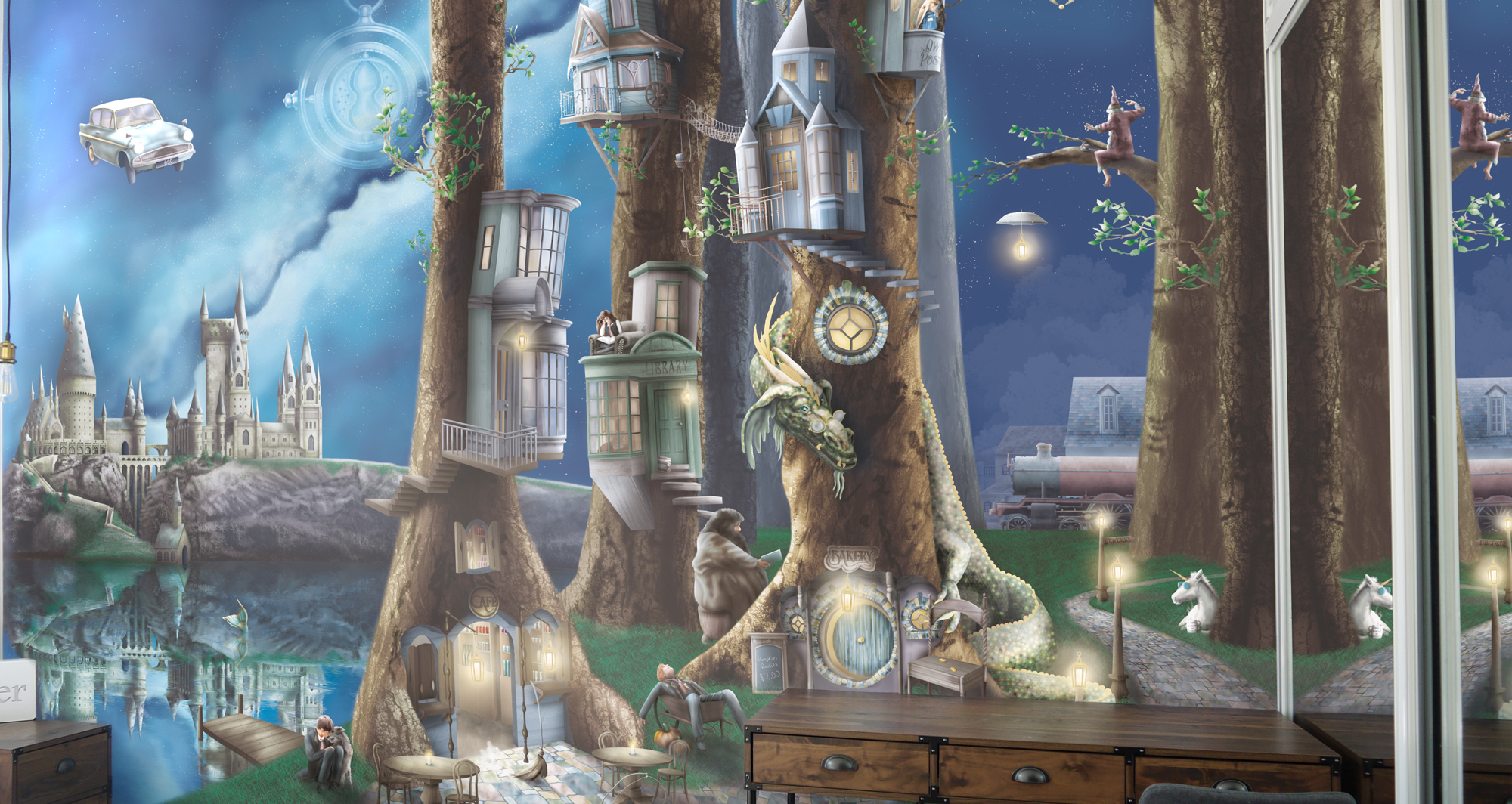 Harry Potter Inspired Wallpaper Wall Mural of the enchanted forbidden forest, with magic, witches, wizards, dragons and more. Also featuring Fairy tale tree houses, hogwarts castle, lake and flying car from chambre of secrets.