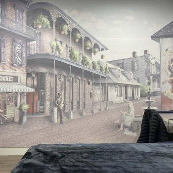 New Orleans Street Cafe Custom Wallpaper wall mural. Features Voodoo, jazz, fountains, iconic buildings and more.
