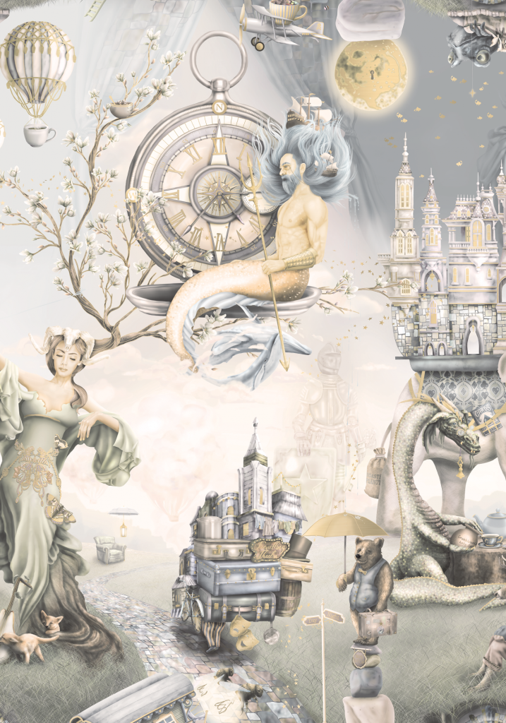Whimsical Woodland - King Triton - Vintage wallpaper features King Triton male mermaid, moon, dragon, knight, bear, woodland creatures, fairytale scene, areoplane, hot air balloons and more.