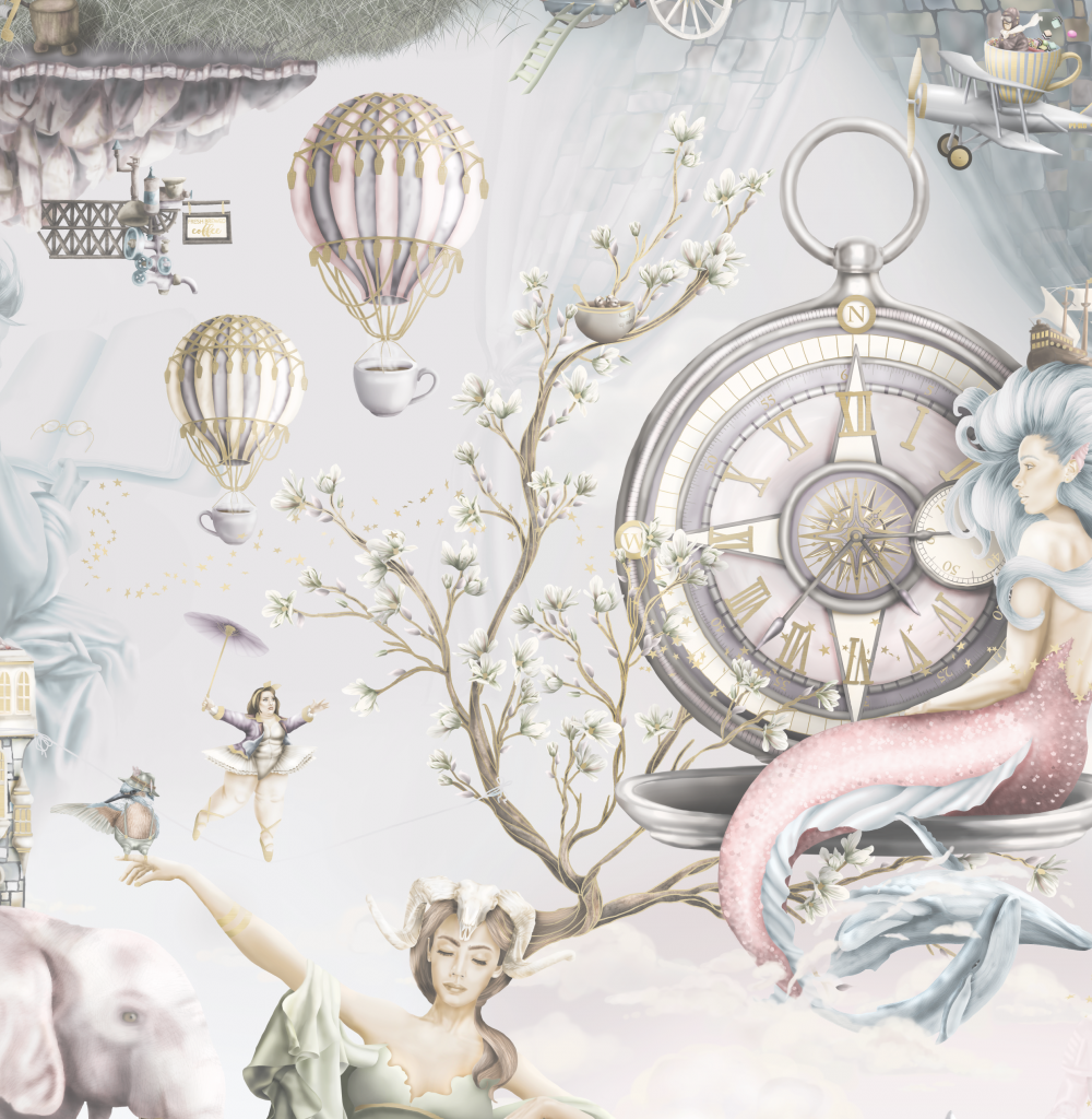 Custom Mermaid Interior Bedroom Nursery Wallpaper, fairytale wallpaper with custom vintage washed out colours and designs. Exquisite characters such as mother nature, mermaid, hot air balloons, dusk dawn sky, ballerina, elephant and more.