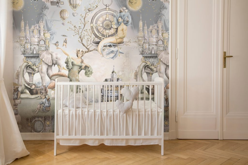 A truly stunning unisex kids wallpaper 'Whimsical Woodland - King Triton.' It is a fairytale woodland fantasy wall mural design in vintage colours. See the stunning illustrations designed with warm tones. Printed onto vinyl wallpaper - Paste The Wall installation.