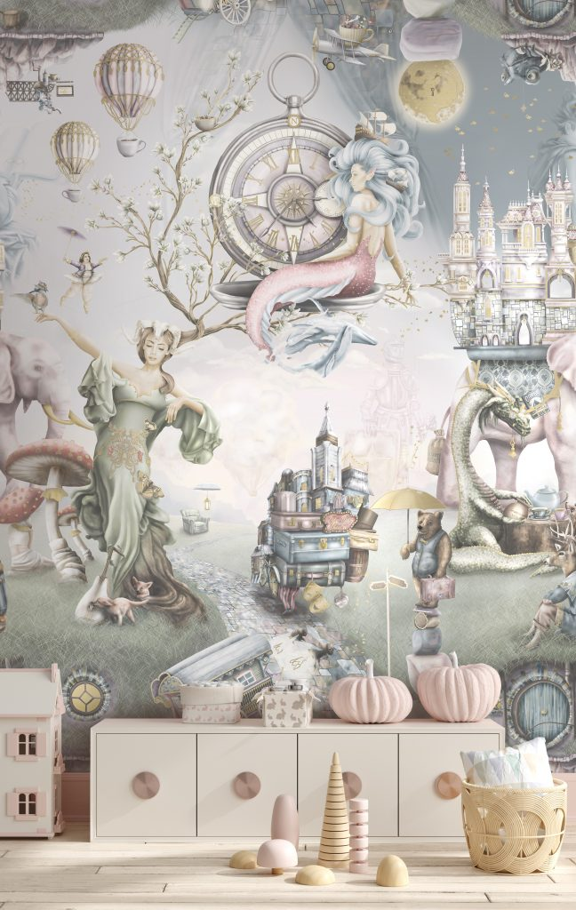 A truly beautiful girls interior wallpaper design in a playroom, bedroom or nursery. featuring mermaids and other faitytale characters such as dragons, mother nature, ballerina, princess and more. In soft washed out, romantic colours.