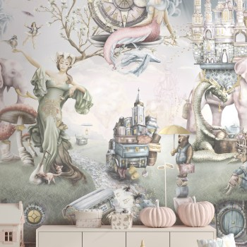 A truly beautiful girls interior wallpaper design on vinyl paste the wall wallpaper featuring mermaids and other fairy tale characters such as dragons, mother nature, ballerina, princess and more. In soft washed out, romantic colours.