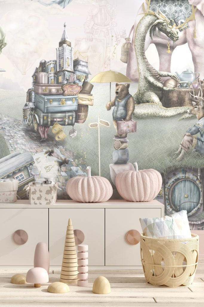 A truly beautiful girls interior wallpaper design on vinyl paste the wall wallpaper. It features dragons, princesses, castles, memaids, gypsy wagons and more. In soft washed out, romantic vintage colours.