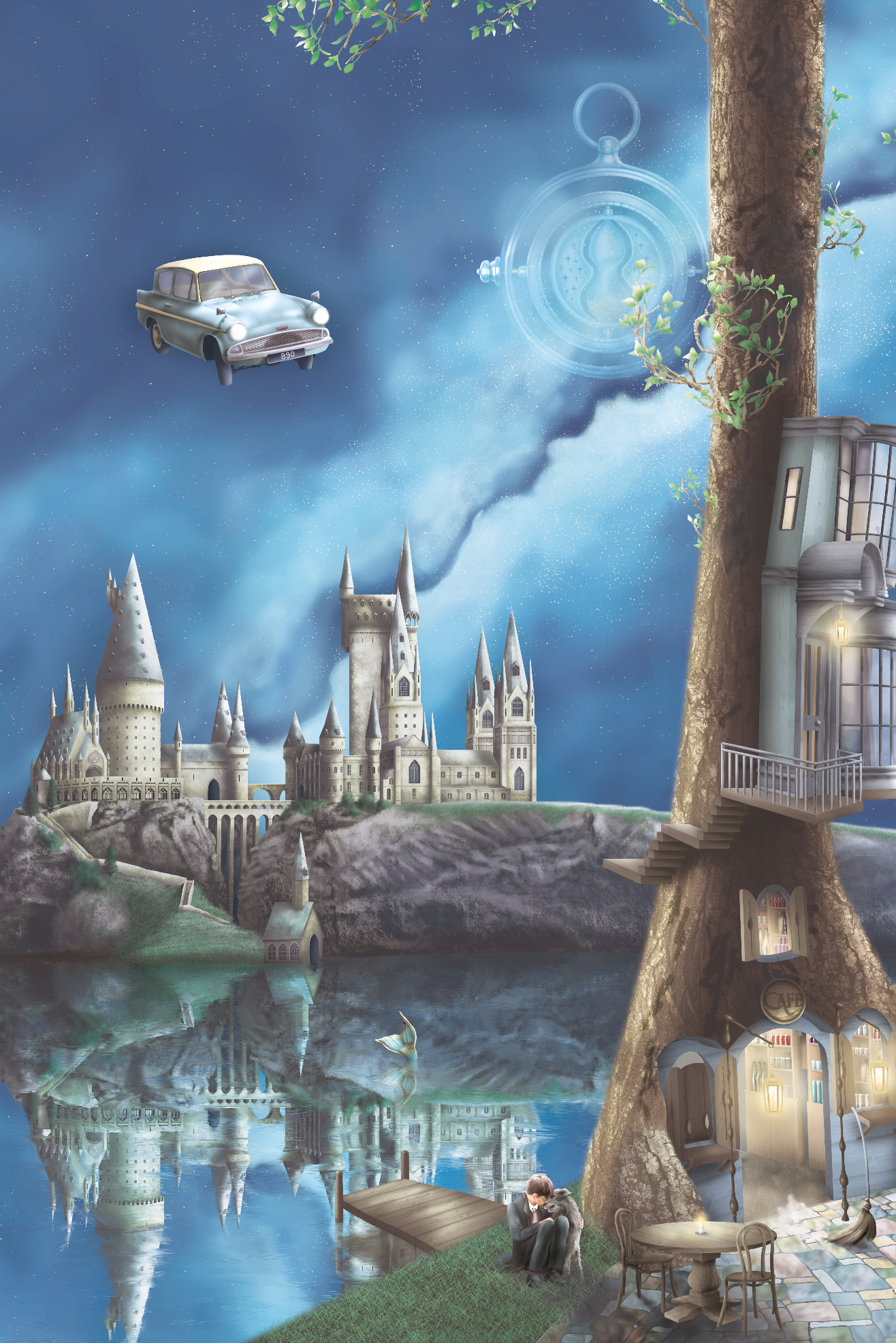 Harry Potter Boys Nursery Wallpaper Murals. Flying car, hogwarts castle, time turner, lake, and many more harry potter inspired illustrations from the wallpaper.