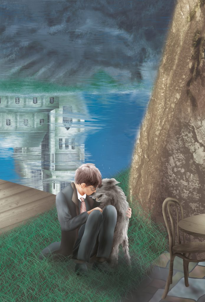 Harry Potter cuddles up to dog sirius in a timeless wallpaper design. Their bond and love is endless. For this wall mural design the designer has chosen to show sirius alive and eternal.