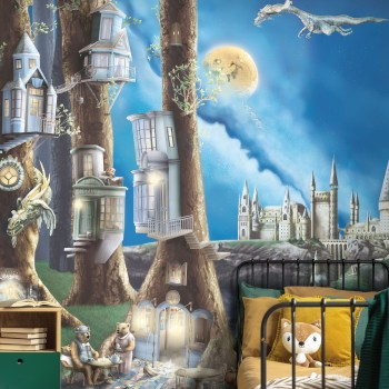 enchanted forest kids bedroom wallpaper. Woodland design with dragons, bears and more. Colours of mustard, forest green, blue