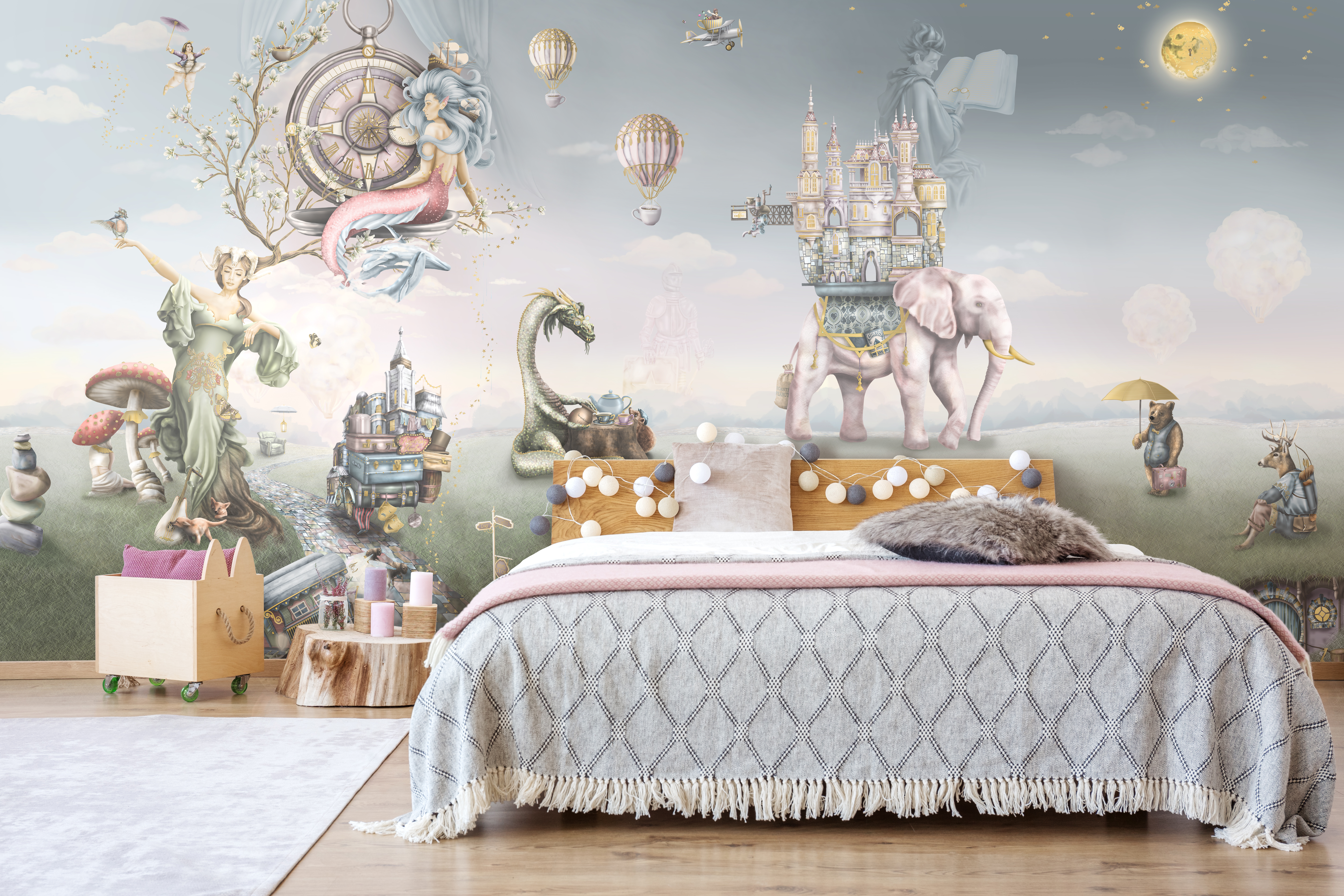 Girls Fairytale wallpaper design - featuring mermaids, mother nature, elephants, dragons, mushrooms princesses and more. Luxury custom wallpaper from sydney australia,