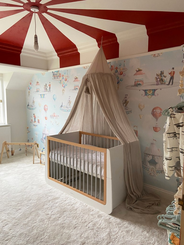 Circus Nursery Carnival Theme with custom circus wallpaper and painted red stripe ceiling