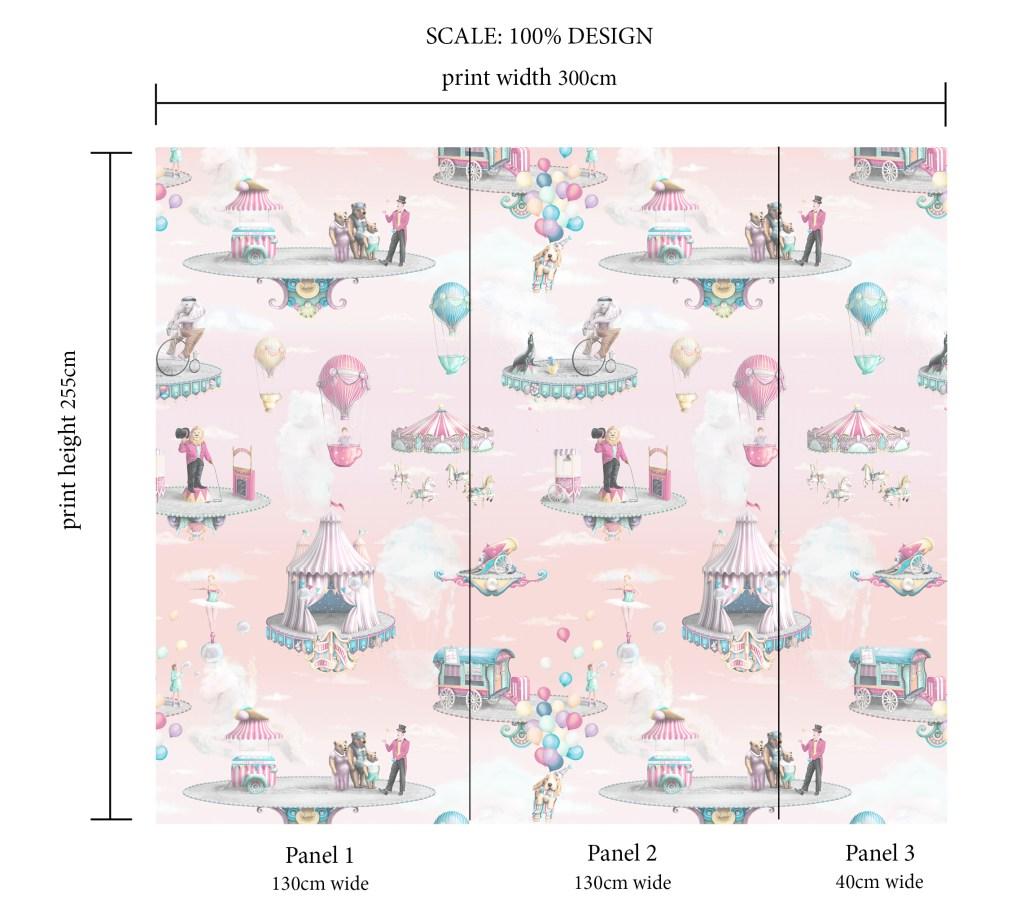 Custom Magical Circus Pink Wallpaper Custom Scale