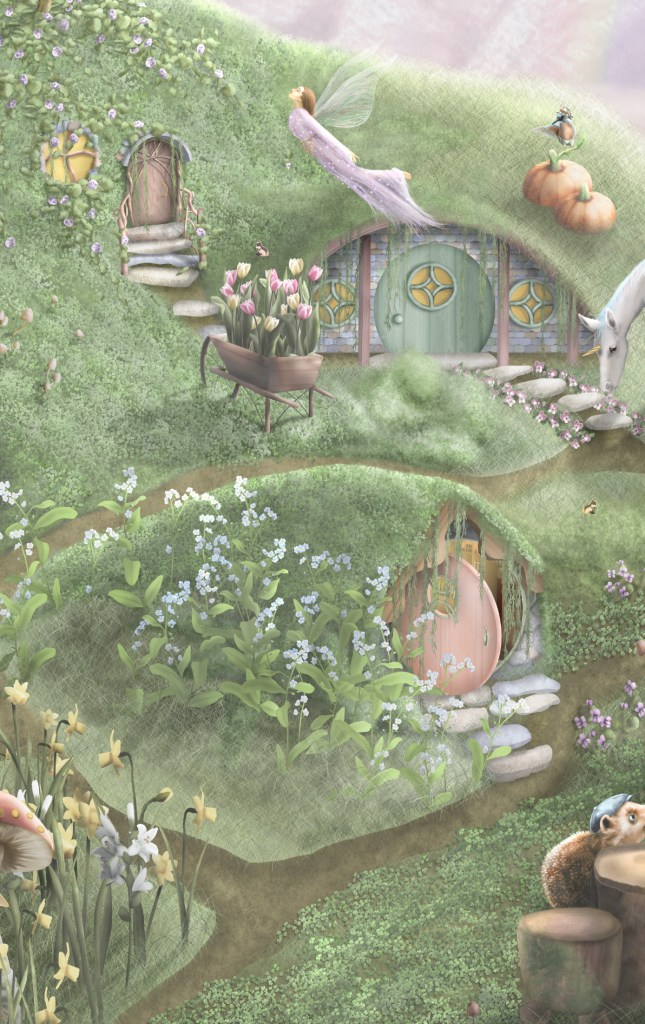 Fairy and Unicorn Garden Kids Bedroom Wallpaper features amazing detailed illustrations with magical characters such as fairies, Fairy homes, unicorns, echidnas and more.