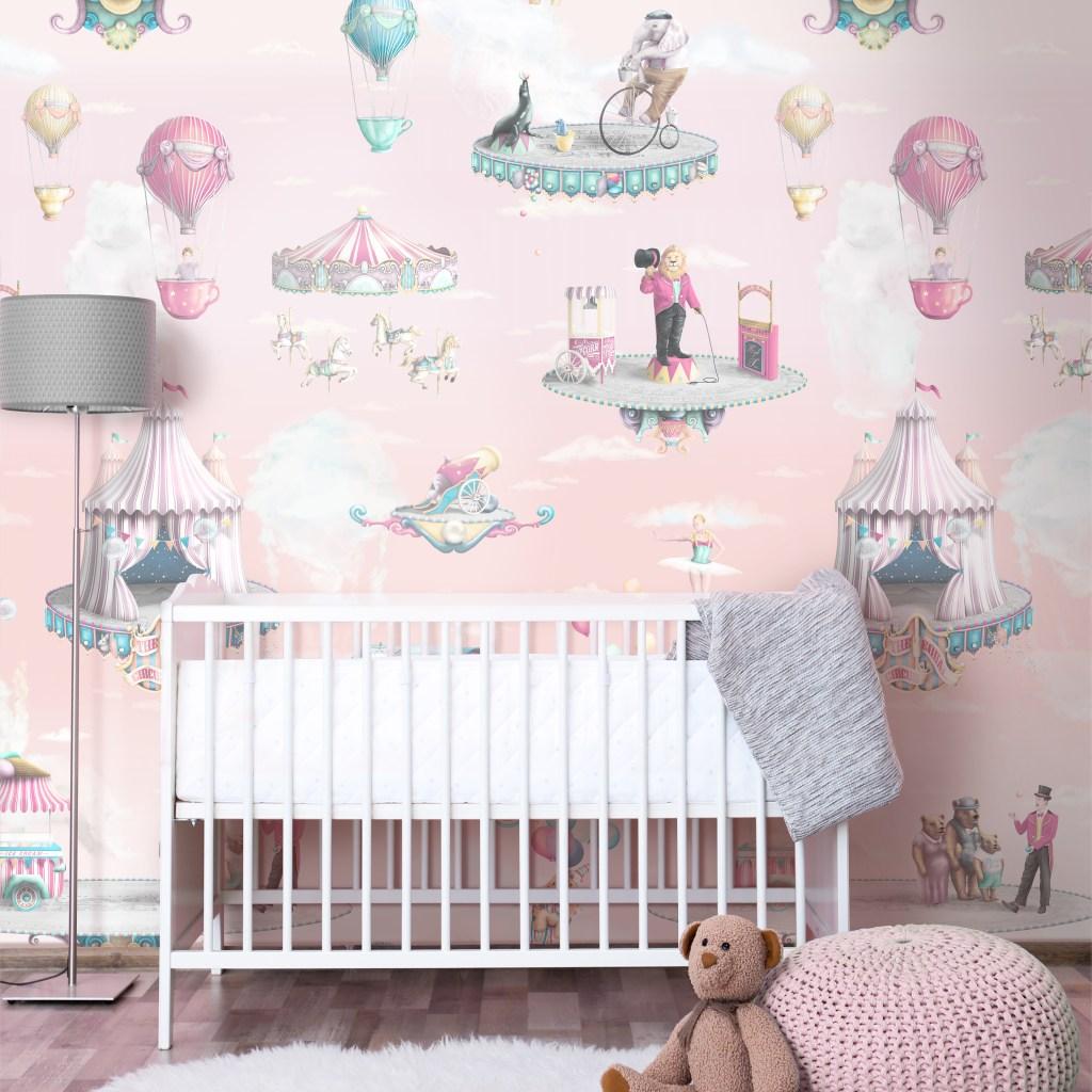 Girls Circus Nursery Interior Bedroom Design Idea Inspiration - Rose Pink Circus