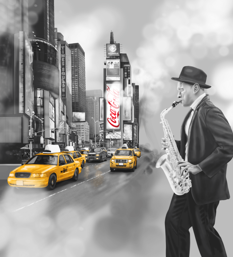 New York City Times Square Jazz Music Wallpaper Wall Mural