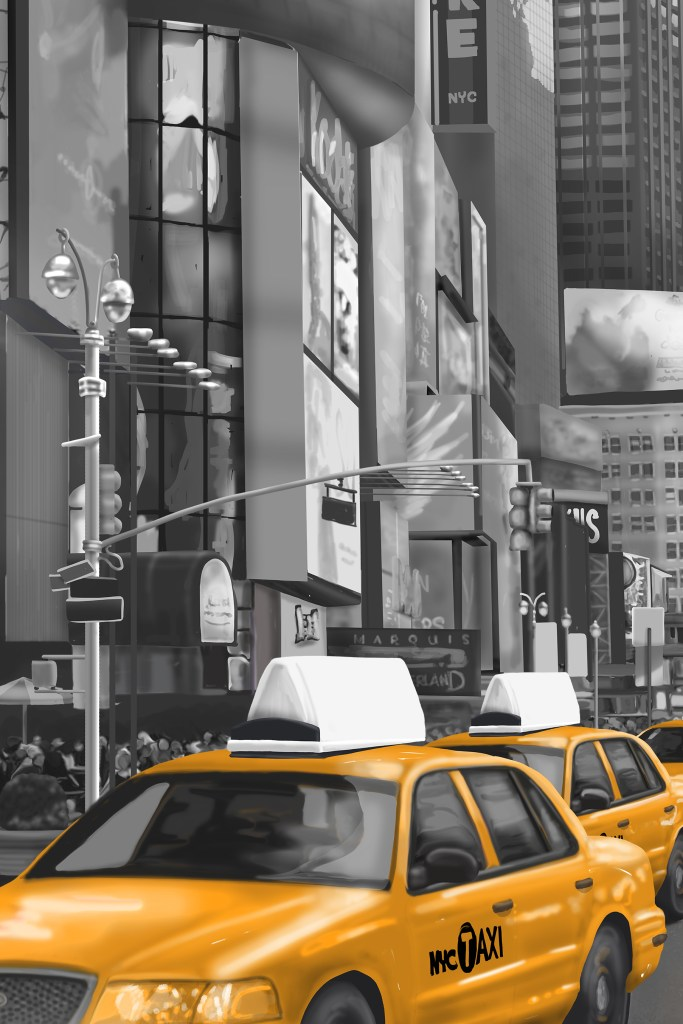 New York Wall Mural CIty Cab Detail Illustrated