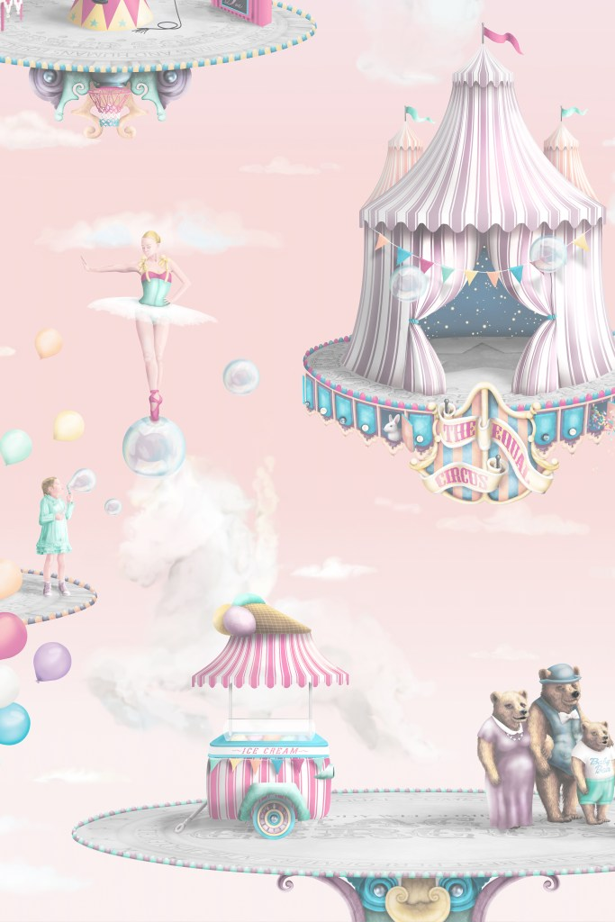 Girls Pink Circus Interior wallpaper Design - custom and bespoke with ballerina, bubbles and carousel horses