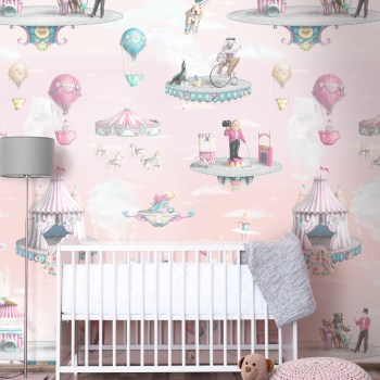 Girls Pink Circus Wallpaper Nursery Bedroom Design with Rose Sky