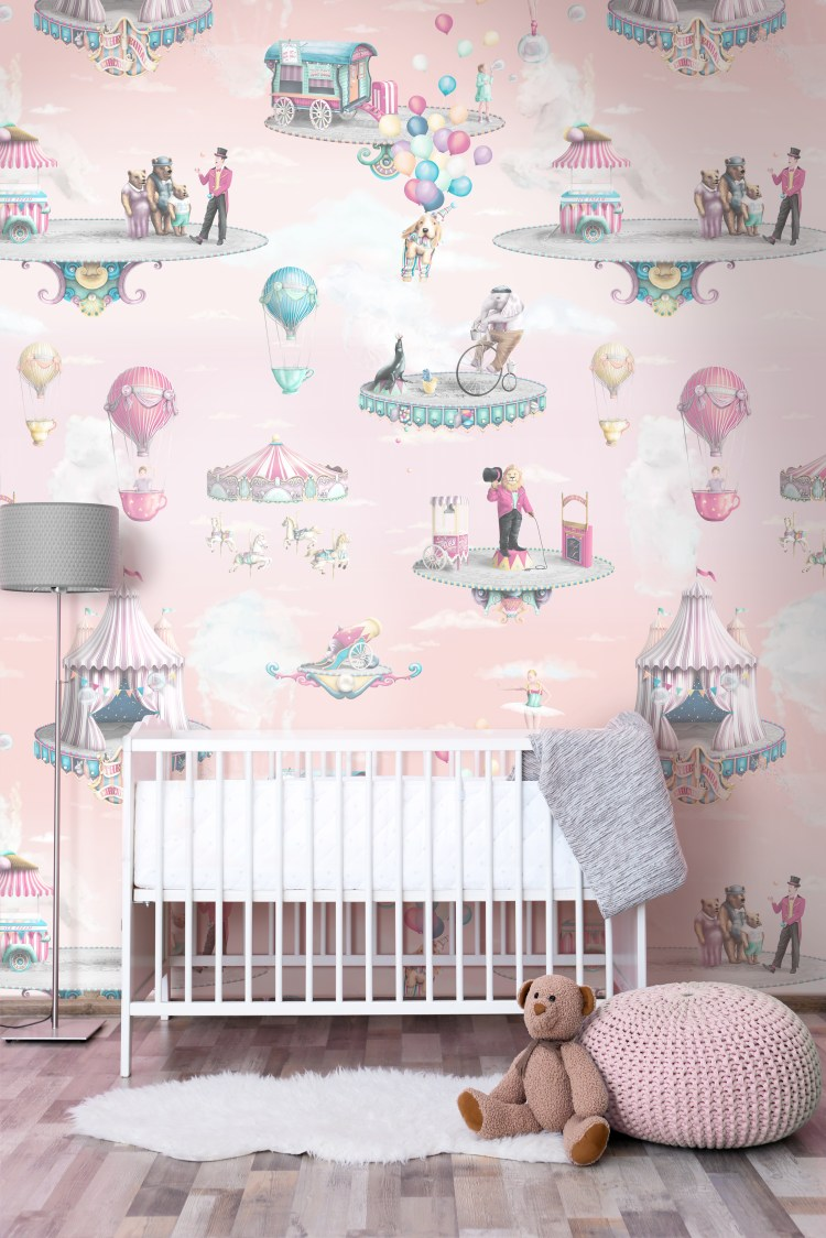Girls Pink Circus Wallpaper Nursery Bedroom Design with Rose Sky