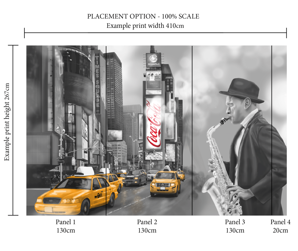 Custom Scale and placement options for wall mural New York City Square