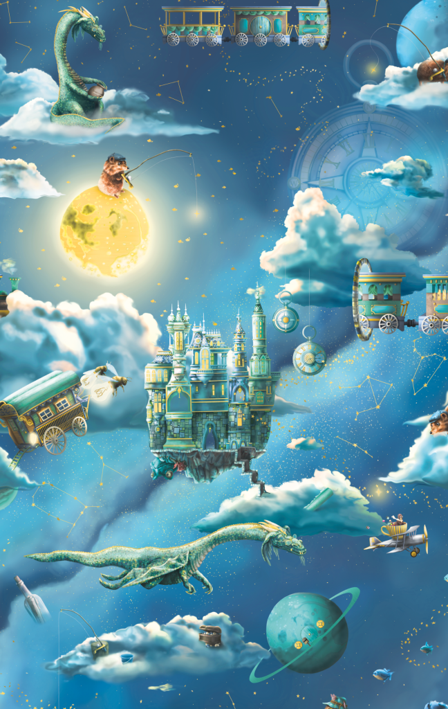 Space For The Moon Kids wallpaper - with fairytale fishing and ocean elements and flying dragons