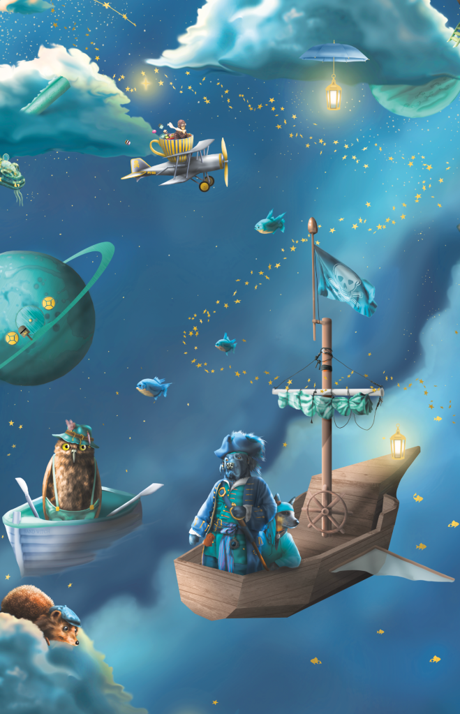 Space For The Moon Kids wallpaper - with fairytale fishing, pirates, boats and galaxy theme
