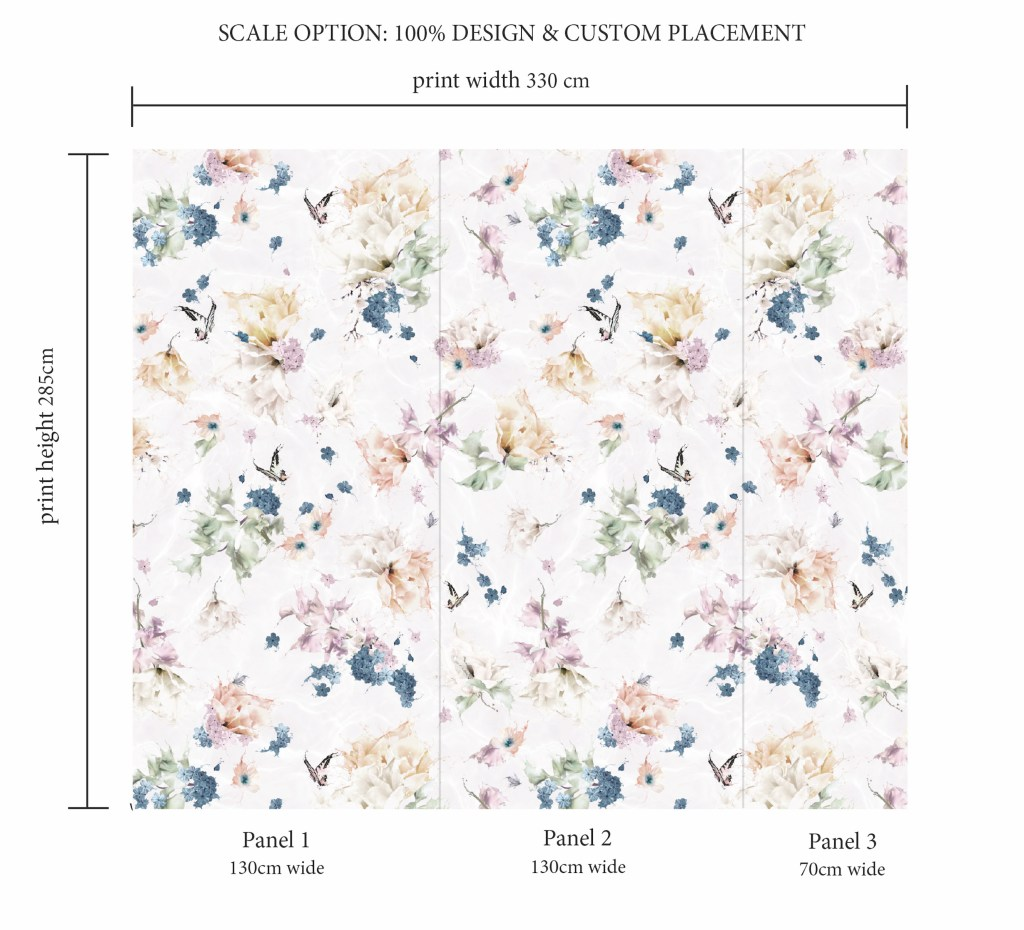 Beautiful Girls Interior Wallpaper with a pink floral and butterfly design. custom and bespoke luxury kids wallpaper. In colours of lilac, rose, sage green, steel blue and white,