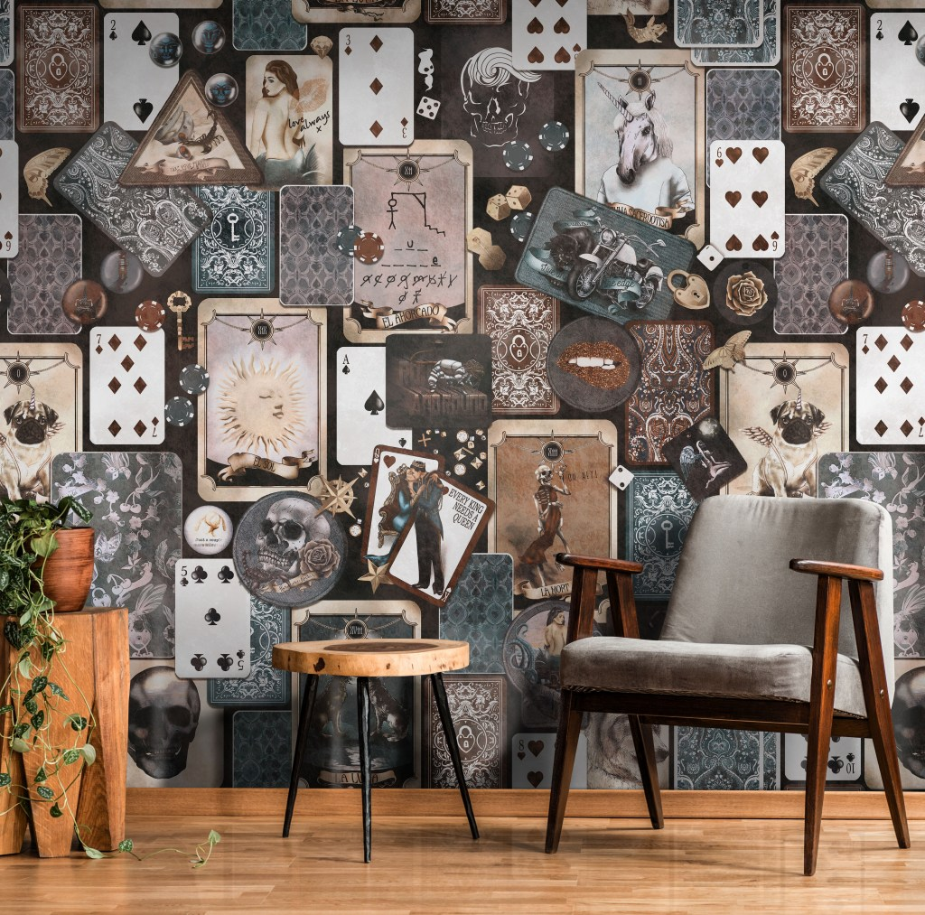 Industrial Vintage Commercial wallpaper with unique and quirky trinket pattern