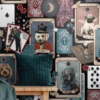 Quirky dog portrait poker cards wallpaper custom