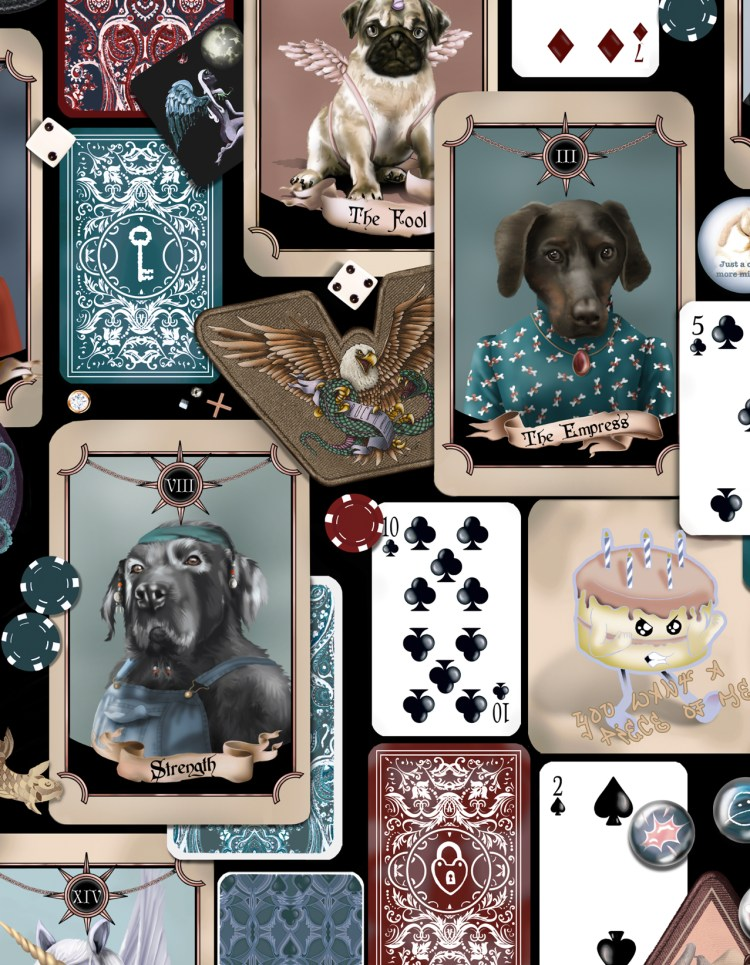 Pooch portrait Poker interior dog faces wallpaper statemnent quirky product
