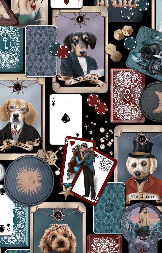 Unique Dog Portrait Poker Cards Gambling Wallpaper Mural Interior statement