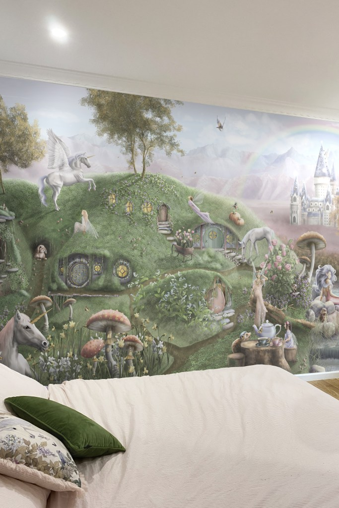 Fairy and Unicorn themed kids wallpaper wall mural