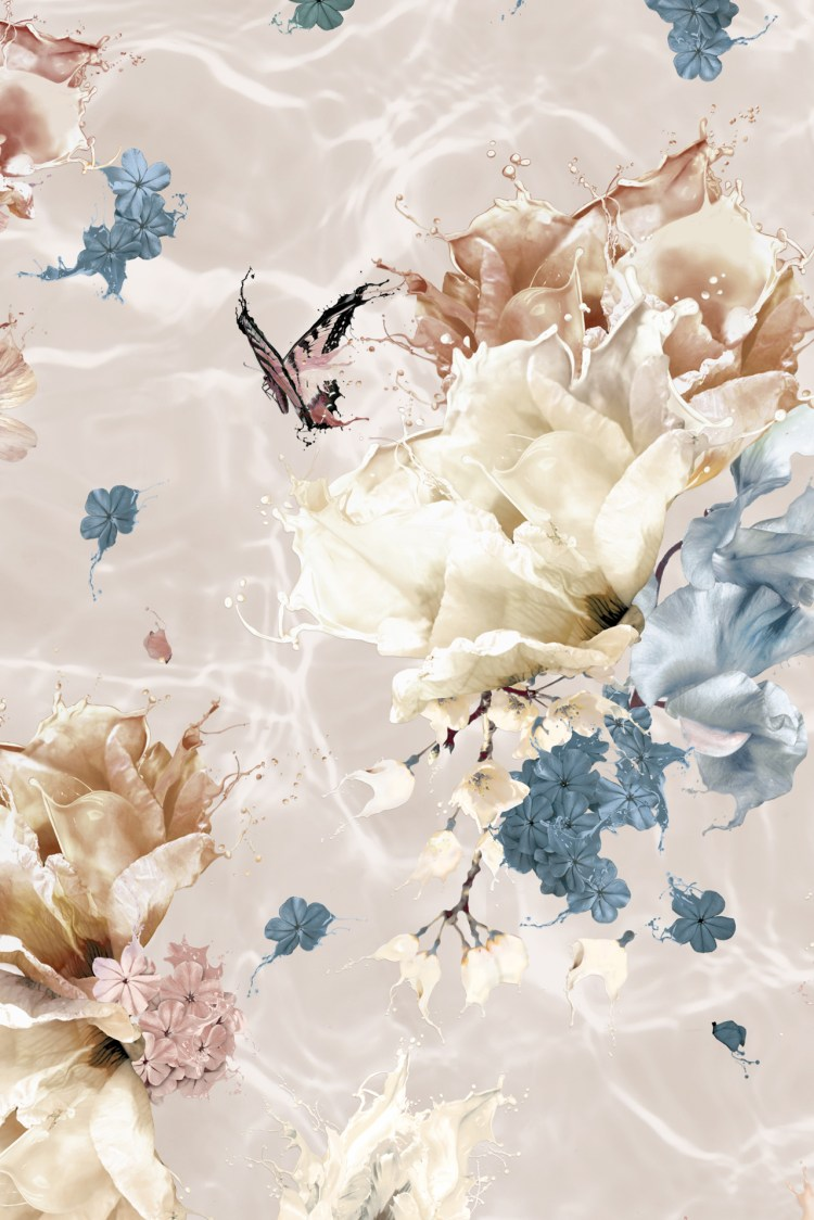 designer wallpaper with large scale flowers and butterflies
