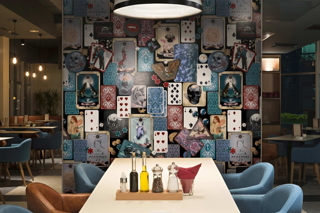 quirky tarot cards playing poker rock n roll badges wallpaper mural