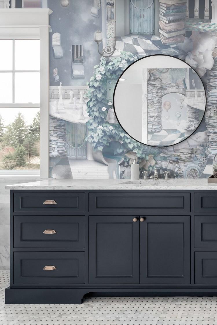 Statement bathroom Wallpaper vinyl powder room vanity