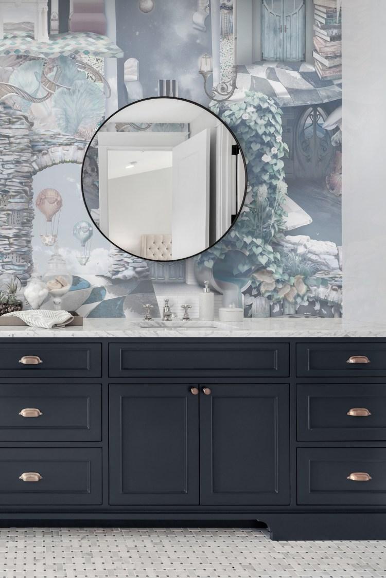 Statement bathroom Wallpaper vinyl powder room vanity navy blue silver grey