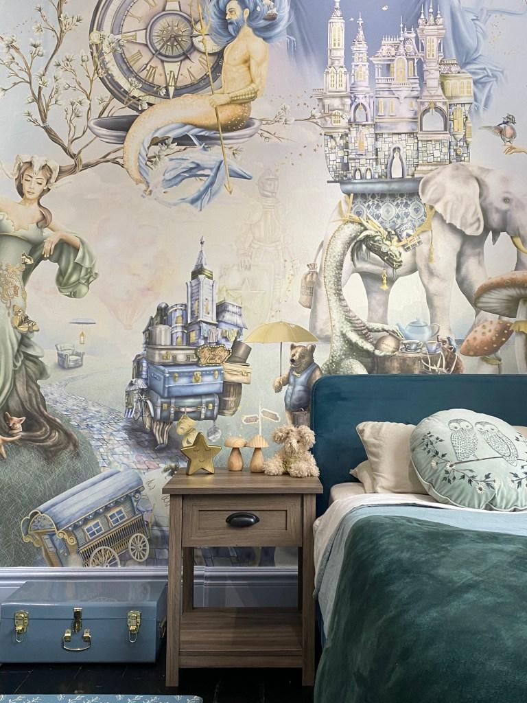Kids boys woodland wallpaper mural forest animals bedroom - wood steel blue sage forest green