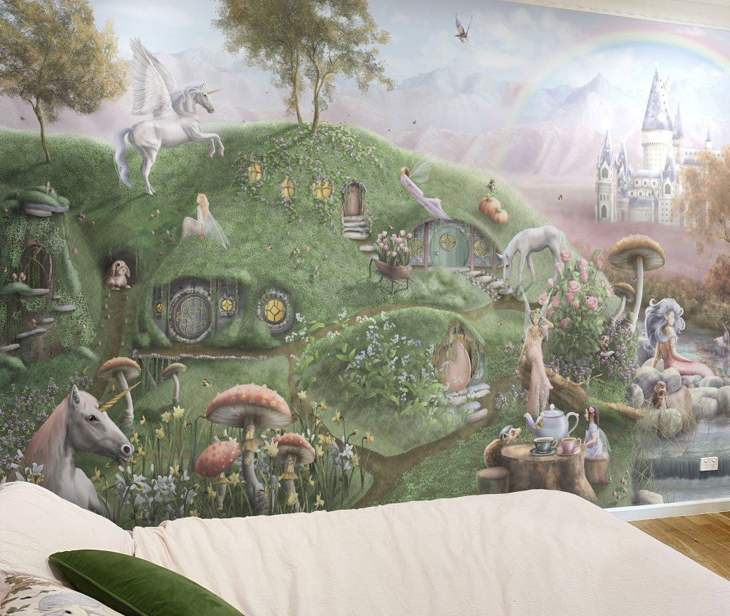 Fairy and unicorn kids bedroom wallpaper wall mural with princess castle