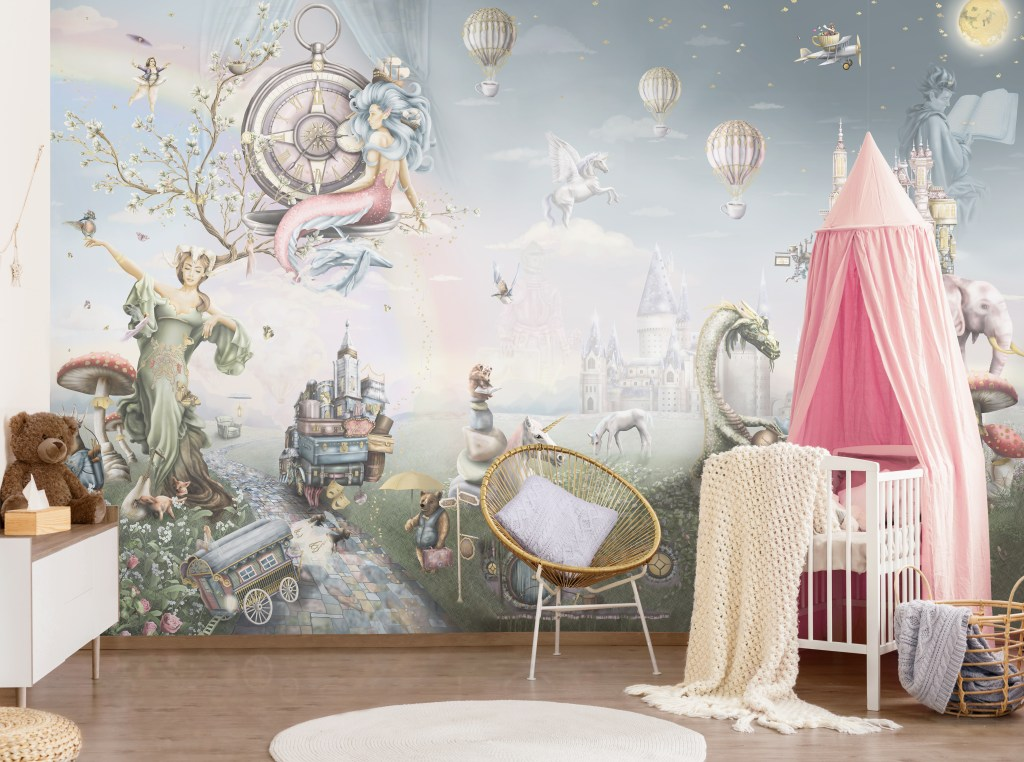Girls Nursery Design with fairy tale wallpaper Wall Mural - pink white grey