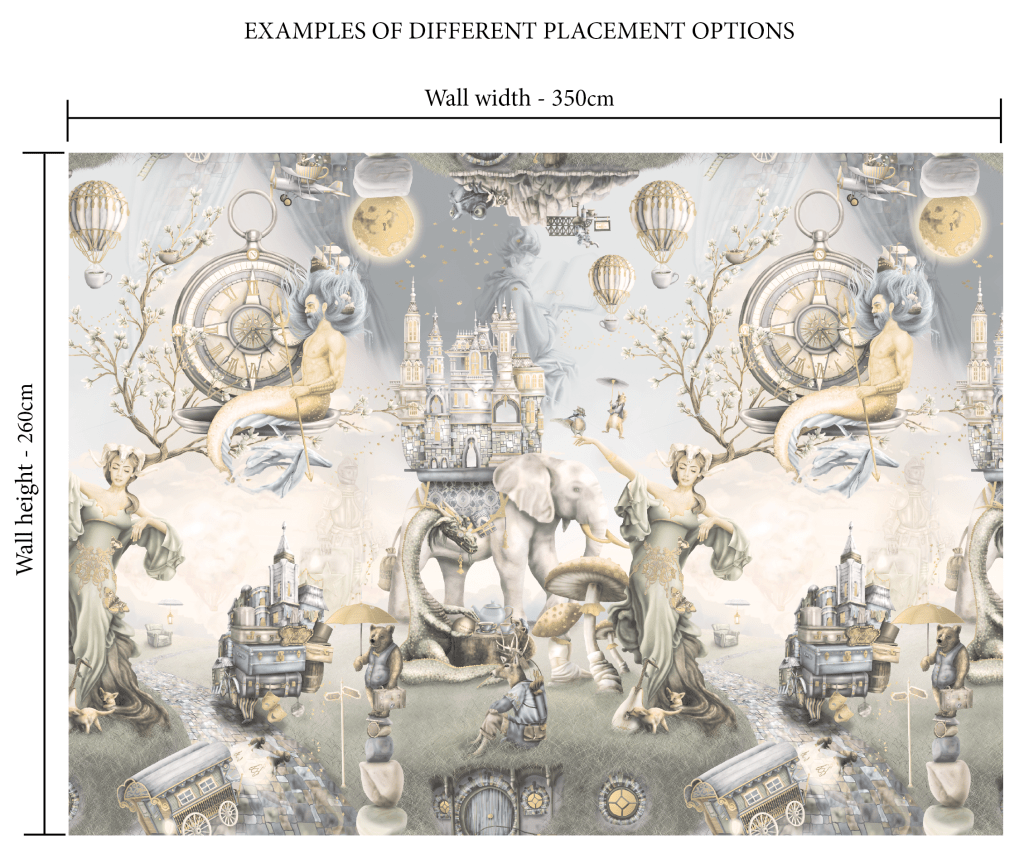 Vintage, light and dusty kids, boys, unisex wallpaper wall mural